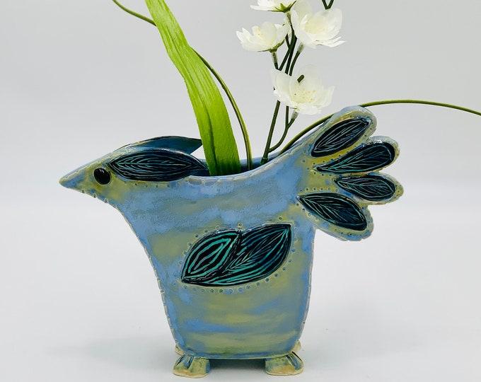 Clay Bird Ceramic or Pottery Vase
