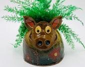 Pig Vase or Utensil Holder in Brown Clay Ceramic or Pottery Vase or Pencil Holder