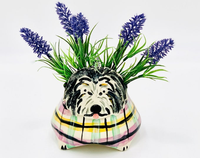 Hand Painted Plaid Dog Ceramic or Pottery Animal Bowl for Succulents, Change, Food, Candles, Trinkets or Jewelry in White Clay