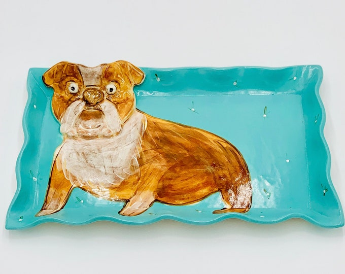 Bulldog Pottery or Ceramic Handmade Platter or Decorative Plate