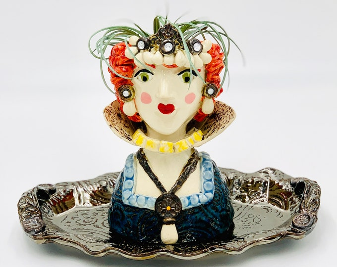 Elizabeth the First Ceramic or Pottery Planter Head or Face Pot for Succulents or Plants