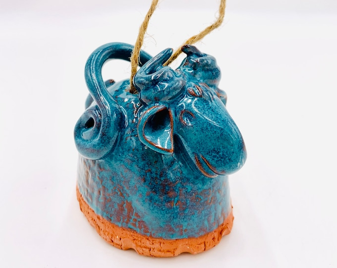 Ram or Sheep Bell in Terracotta Clay Ceramic or Pottery Vase or Pencil Holder