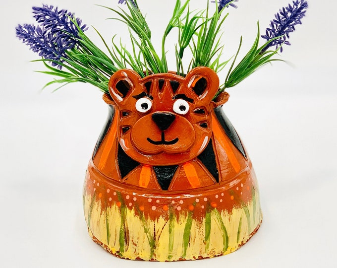 Hand Painted Tiger Vase or Utensil Holder in Terra Cotta Clay Ceramic or Pottery Vase or Pencil Holder