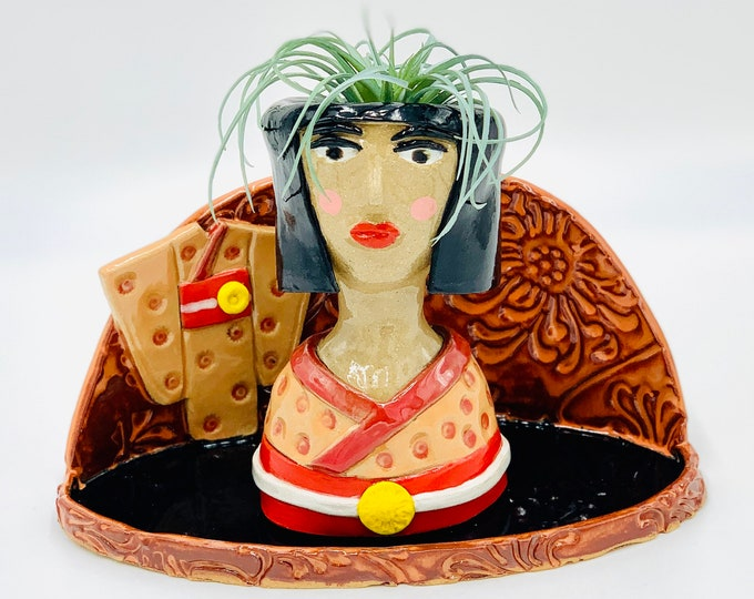 Japanese Lady Ceramic or Pottery Planter Head or Face Pot for Succulents or Plants
