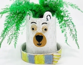 Bear Planter in Speckle Clay Ceramic or Pottery Succulent or Plant Holder
