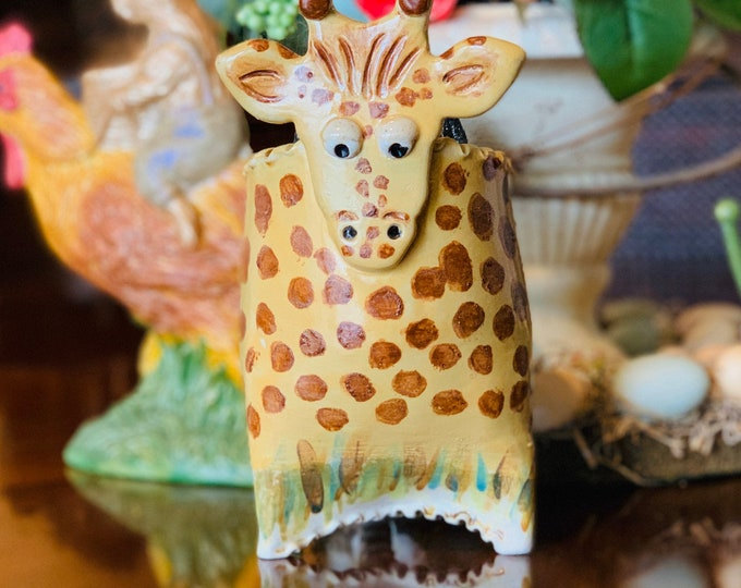 Handpainted Giraffe in White Clay, Ceramic or Pottery Vase, Brush or Pencil Holder