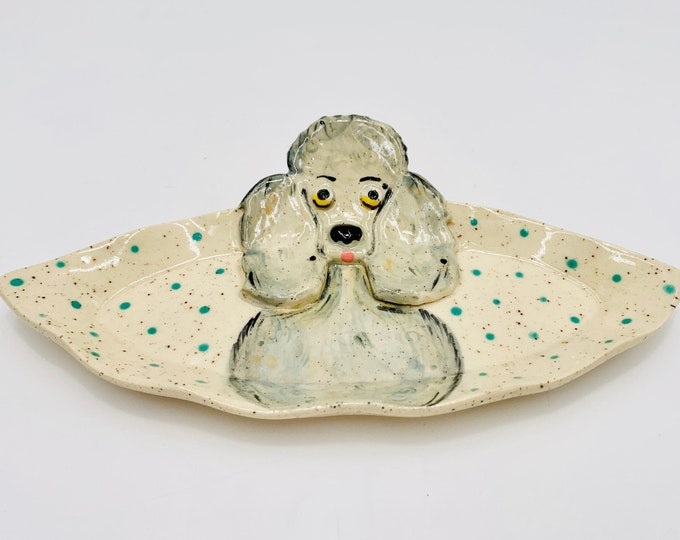 Poodle Speckled White Clay Pottery or Ceramic Handmade Platter or Decorative Plate