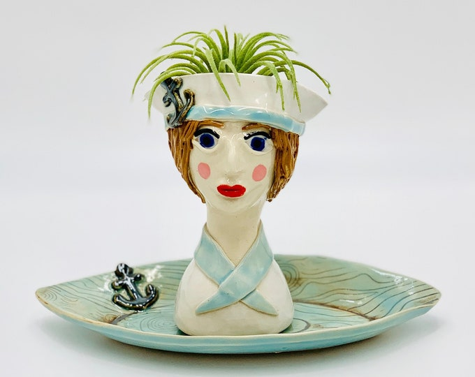 Sailor Ceramic or Pottery Planter Head or Face Pot for Succulents or Plants