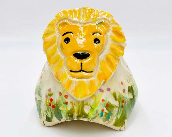 Lion Bowl for Succulents, Hand Painted with Yellow Glaze in White Clay