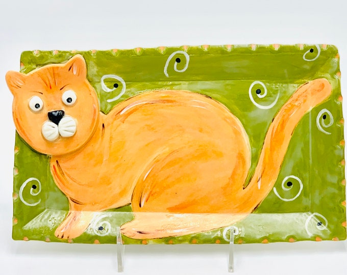 Marmalade Cat Pottery or Ceramic Handmade Platter or Decorative Plate in White Clay