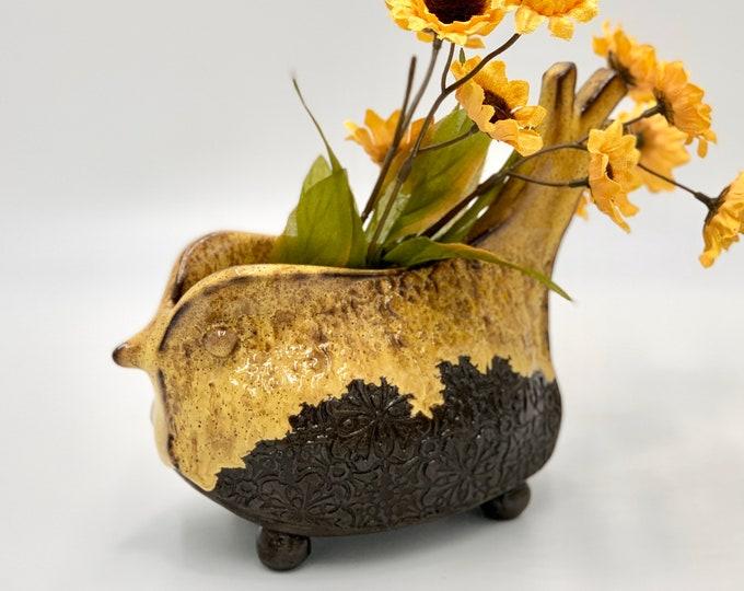 Yellow Glazed Black Clay Bird Ceramic or Pottery Vase