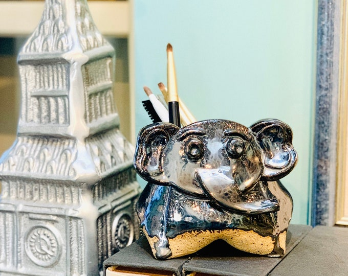 Speckle Clay Elephant Ceramic or Pottery Animal Bowl for Succulents, Change, Food, Candles, Trinkets or Jewelry