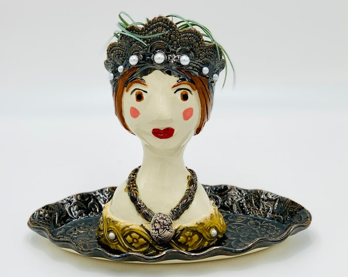 Young Queen Victoria White Clay Ceramic or Pottery Planter Head or Face Pot for Succulents or Plants