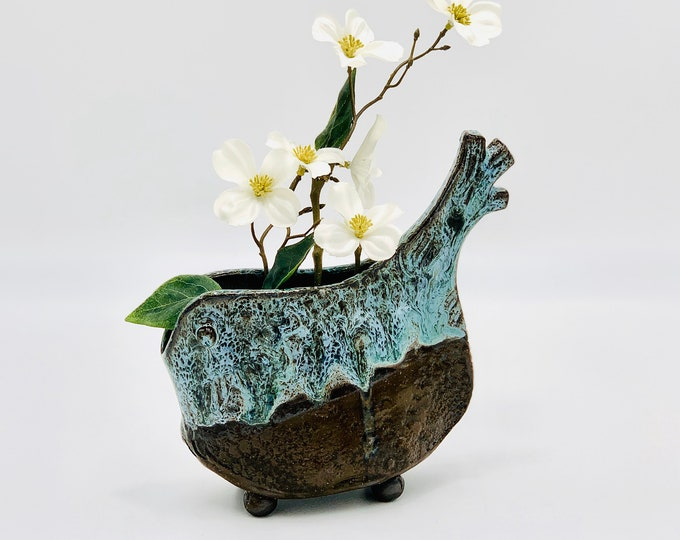 Blue Bird in Black Clay Ceramic or Pottery Vase for Flowers or Display
