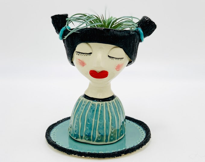Turquoise Girl White Clay Ceramic or Pottery Planter Head or Face Pot for Succulents or Plants