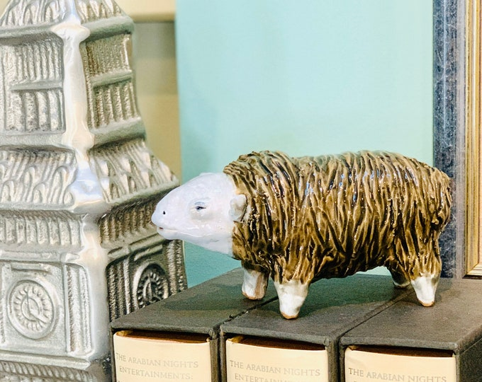 Funky Carved Sheep Ceramic or Pottery Sculpture