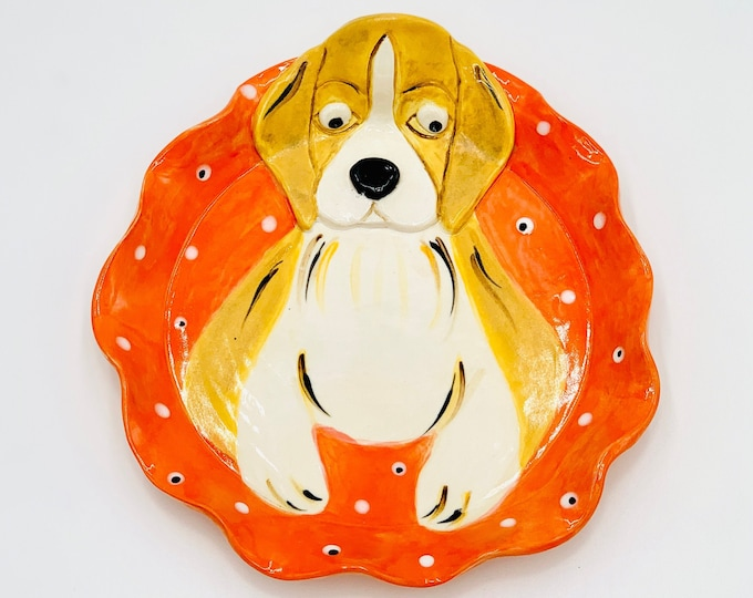Beagle Pottery or Ceramic Handmade Platter or Decorative Plate