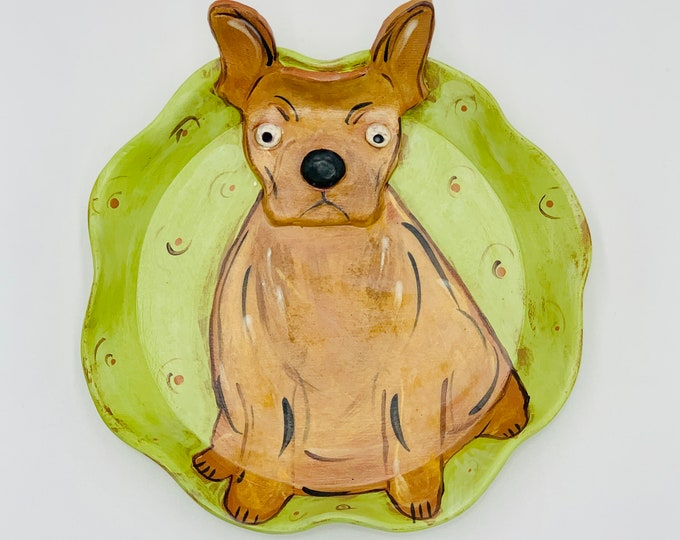 French Bulldog Terra Cotta Pottery or Ceramic Handmade Platter or Decorative Plate