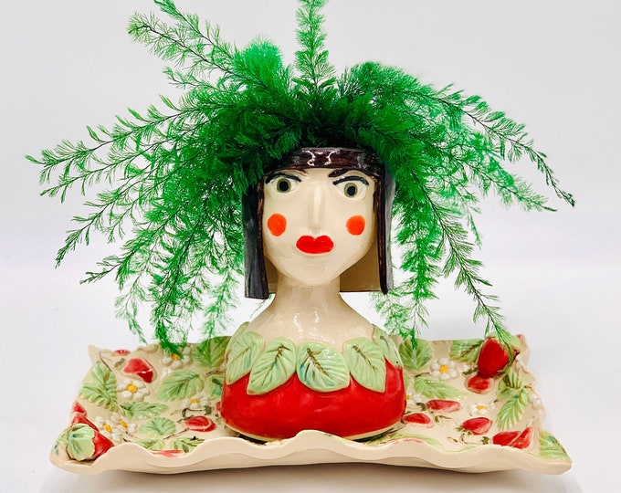 Strawberry Lady Ceramic or Pottery Planter Head or Face Pot for Succulents or Plants