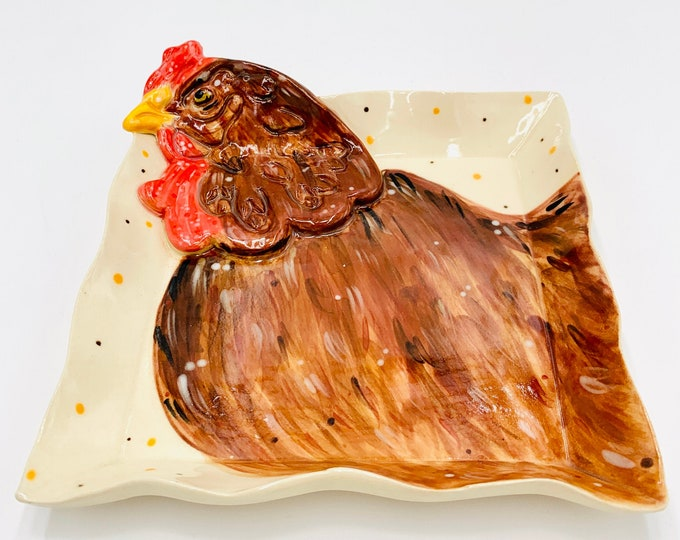 Rooster Pottery or Ceramic Handmade Platter or Decorative Plate in White Clay