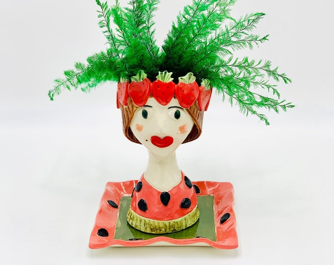Strawberry Lady White Clay Ceramic or Pottery Planter Head or Face Pot for Succulents or Plants