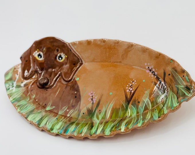 Dachshund Red Clay Pottery or Ceramic Handmade Platter or Decorative Plate