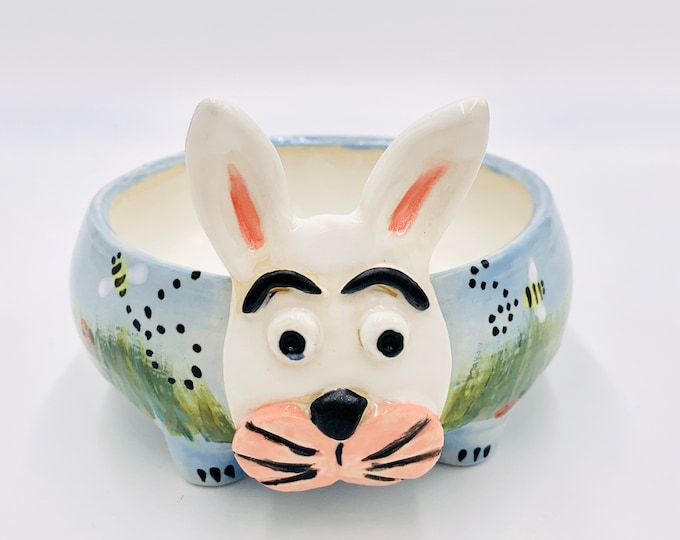 White Clay Bunny Ceramic or Pottery Animal Bowl for Succulents, Change, Food, Candles, Trinkets or Jewelry