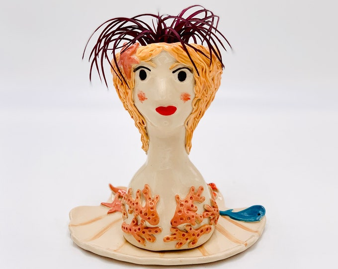 Mermaid Ceramic or Pottery Planter Head or Face Pot for Succulents or Plants in White Clay