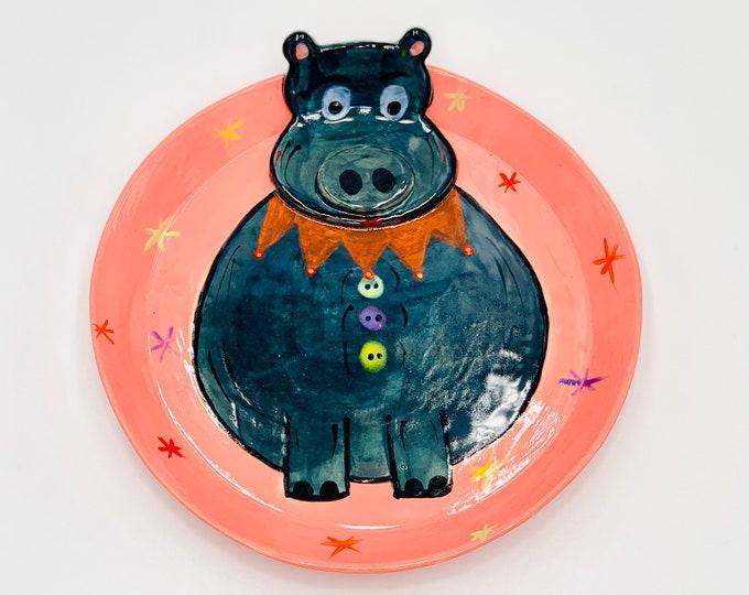 Hippo Pottery or Ceramic Handmade Platter or Decorative Plate