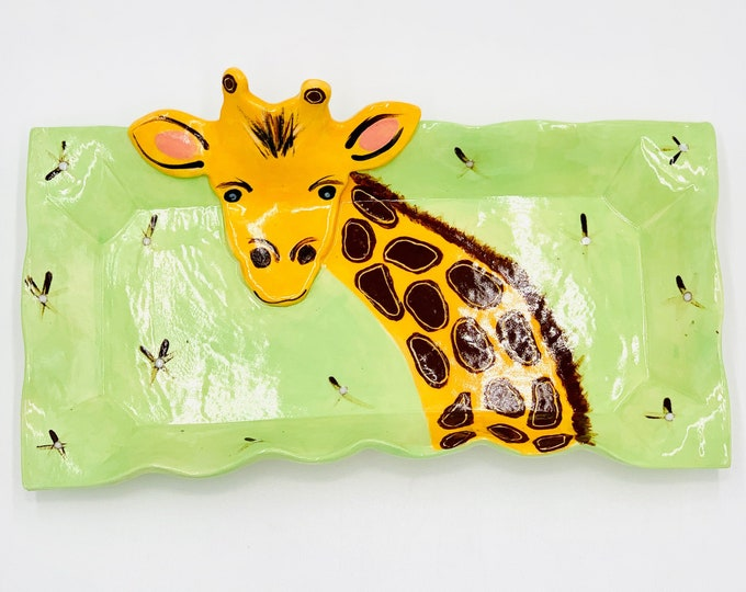 Giraffe Pottery or Ceramic Handmade Platter or Decorative Plate