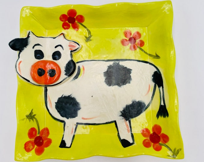 Cow Pottery or Ceramic Handmade Platter or Decorative Plate