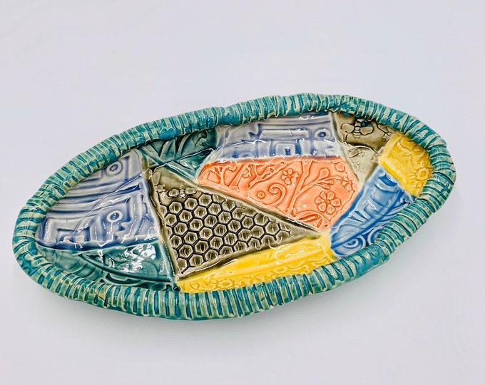 Oval Crazy Quilt Pottery or Ceramic Handmade Platter or Decorative Bowl