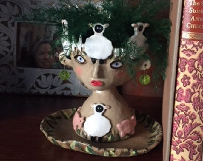Personalized Custom Ceramic Head Planter or Face Pot, made to your specifications and perfect for a holiday gift