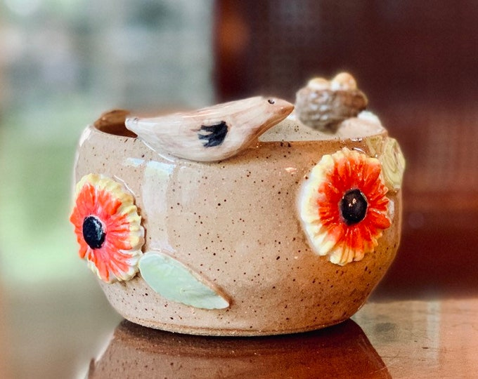Flowers and Bird Ceramic or Pottery Bowl for Change, Jewelry, Food or Succulents