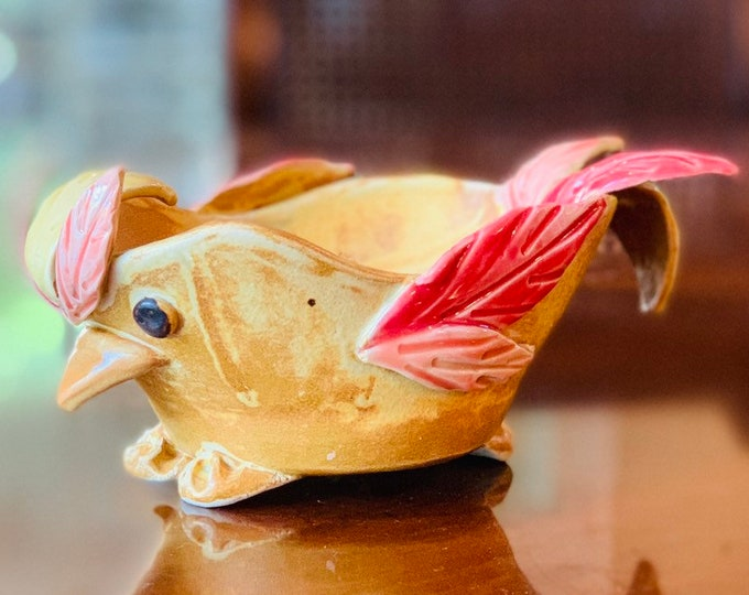 Yellow Bird Ceramic or Pottery Bowl for Change, Jewelry, Food or Succulents