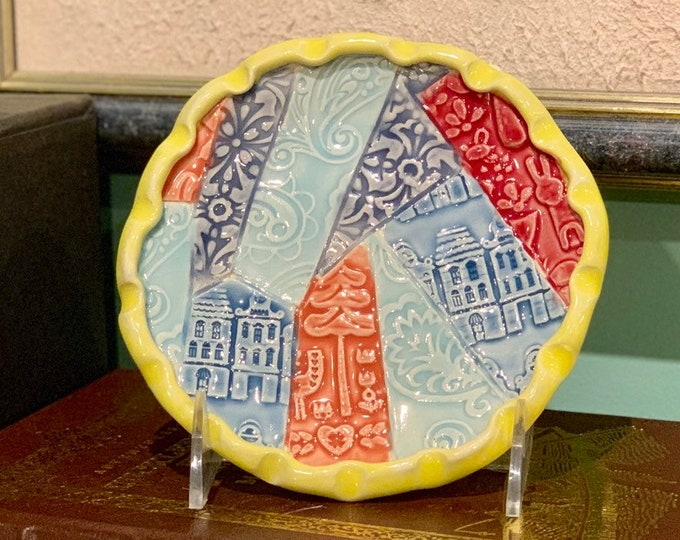 Shallow plate Crazy Quilt Pottery or Ceramic Handmade Platter or Decorative Bowl