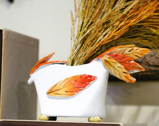 Orange and White Ceramic Handmade Bird Vase