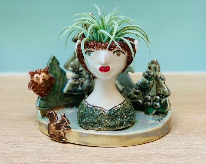 Forest Fairy Ceramic or Pottery  Planter Head or Face Pot