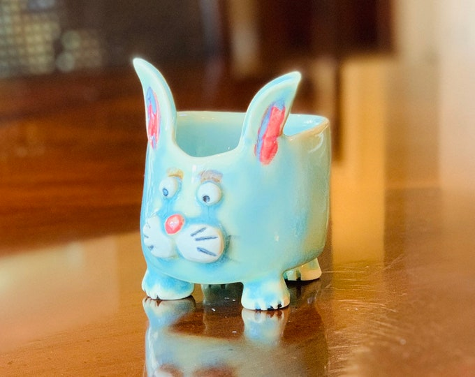 Bunny Ceramic or Pottery Animal Bowl for Succulents, Change, Food, Candles, Trinkets or Jewelry