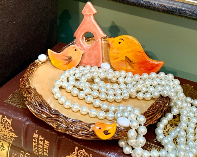 Bird Nest Bowl in Yellow made of Ceramic or Pottery for Change, Candle, Trinkets or Jewelry Holder