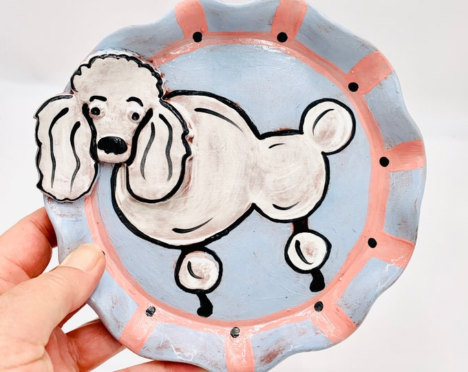 Poodle Pottery or Ceramic Handmade Platter or Decorative Plate in Terracotta.