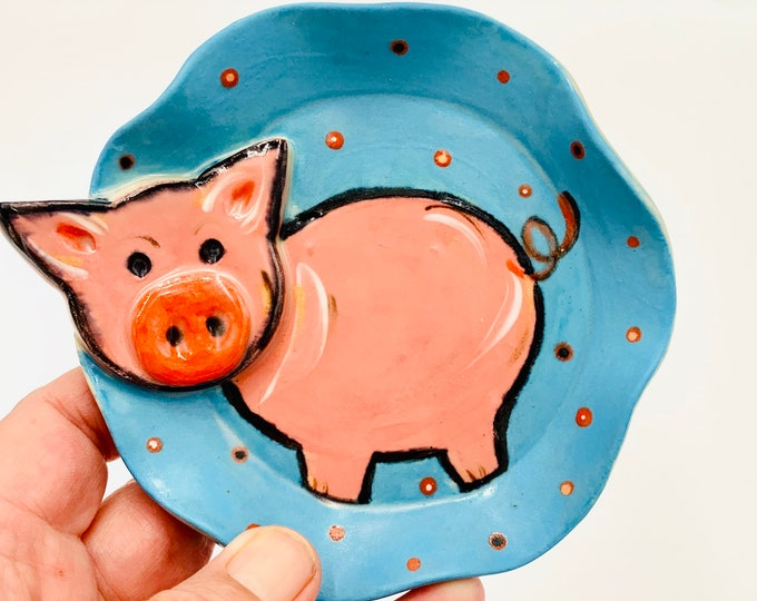 Pig Pottery or Ceramic Handmade Platter or Decorative Plate