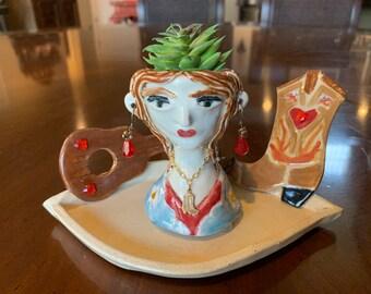 Meerjungfrau Keramik Blumentopf Dekorative Kopf Blumenkasten Etsy