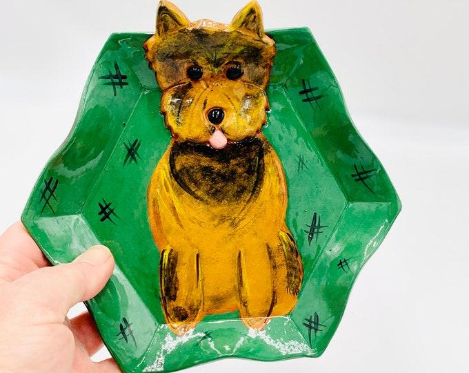 Yorkie Terra Cotta Pottery or Ceramic Handmade Platter or Decorative Plate