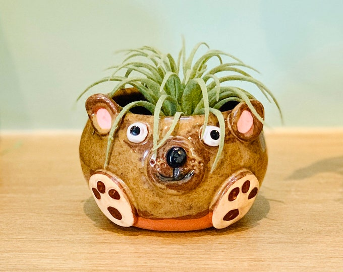 Terracotta Clay Bear Ceramic or Pottery Animal Bowl for Succulents, Change, Food, Candles, Trinkets or Jewelry