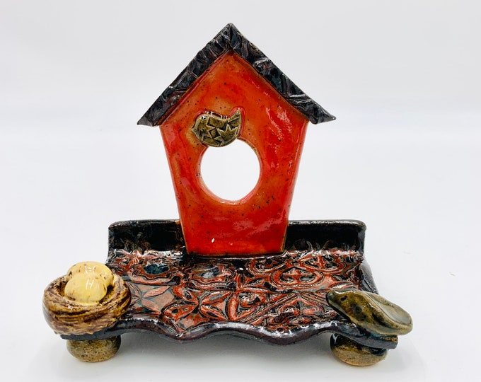 Speckle Bird Ceramic Business Card Holder, Change, Tea Bags, Candles, Rings or for Decoration