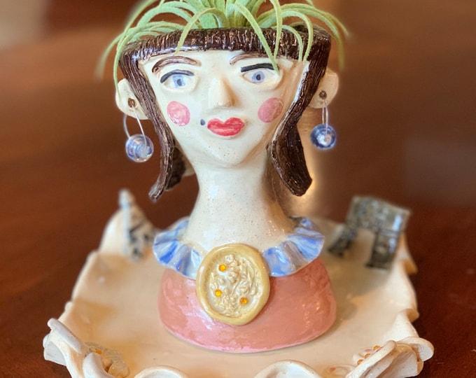 Parisian Woman Handmade Ceramic Face Pot or Head Planter