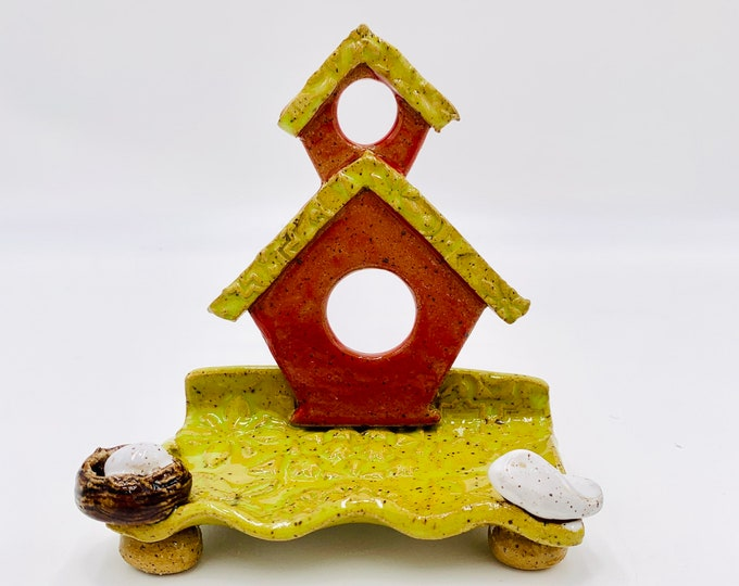 Speckled Bird Ceramic Business Card Holder, Change, Tea Bags, Candles, Rings or for Decoration