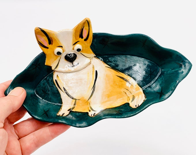 Corgi Pottery or Ceramic Handmade Platter or Decorative Plate
