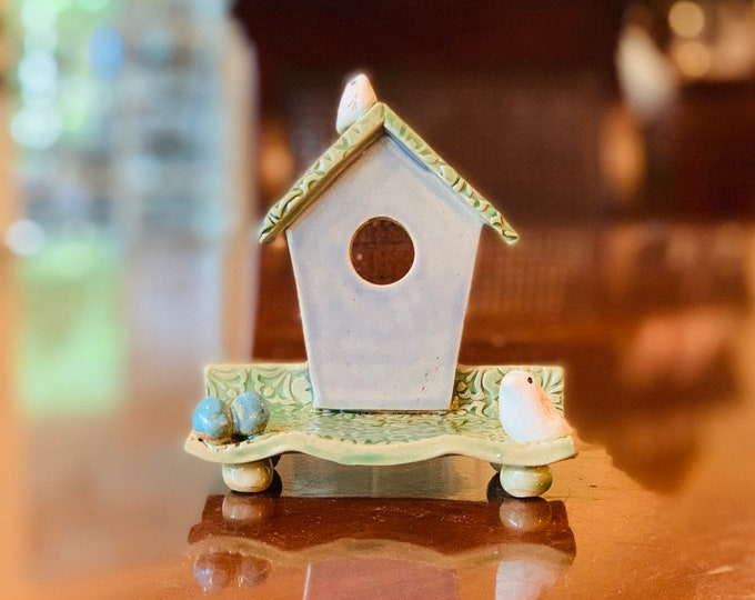 Bird House Ceramic or Pottery Blue Tray for a Business Card Holder , Change, Tea Bags, Candles, Rings or Decoration in Brown Clay